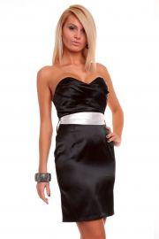 Sort kjole med hvid sløjfe, str. S