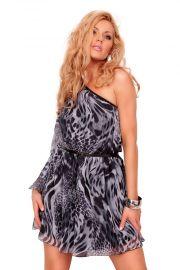 Asymmetrisk kjole med gråt leopardprint, str. S
