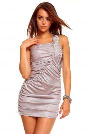 Grå asymetrisk kjole med skulderpynt