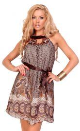 Brun mønstret kjole
