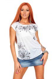 Hvid T-shirt med blomsterprint, str. XL
