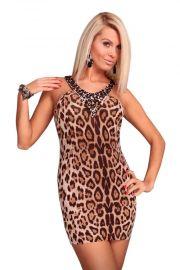 Kjole i leopardprint med sten