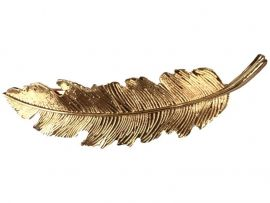 Guldfarvet hårspænde formet som et fjer