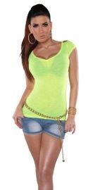 Neongul t-shirt med skulderpynt M/L