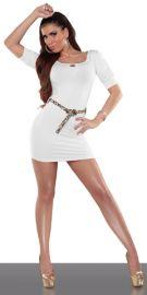 Hvid kjole med bælte