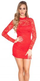Rød blondekjole