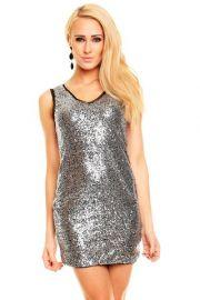Sølv kjole med palietter